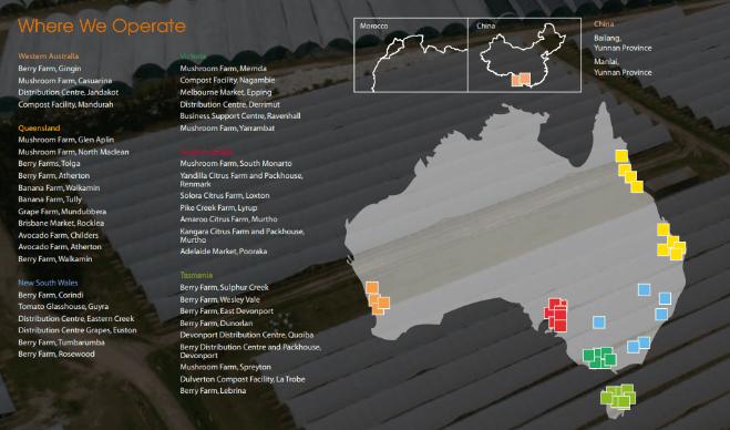 Costa Shares (ASX CGC) - Locations
